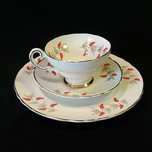 3 Pc Crown Staffordshire Tea Cup n Saucer, Dessert
